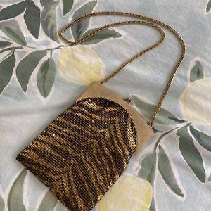 Vintage WHITING & DAVIS Mesh ZEBRA Brown & Gold EVENING HANDBAG / PURSE