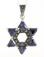 "Marcasite Sterling Silver 18"" Trillion Amethyst Star of David Pendant Necklace"