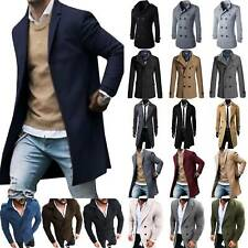 Mens Double Breasted Wool Jacket Formal Office Coat Tops Long Sleeve Overcoat US