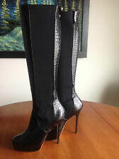 Authentic Jimmy Choo Black Knee-High Heels Boots 38.5