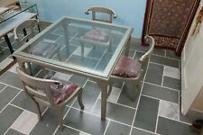 Vintage Wood Metal Cladding Dining Table Four Chair Set Modern Home Ware  US426M