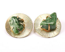 Coro Gold Tone and Green Nephrite Earrings, Vintage 1950s
