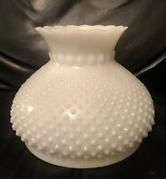 """Antique Ruffle Hobnail White Milk Heavy Thick Glass Lamp Shade 6 3/4"""" Fitter"""