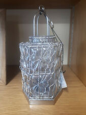 Plutus Antique Silver Glass Hurricane Lamp with Solid Metal Base by Parlane