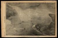 Balloon view Fortress Monroe Chesapeake birds-eye 1861 Harper's Civil War Print