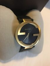 Brand New Gucci 'Interlocking-G' Black Leather Men's watch YA133212 $1290