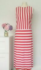 JAEGER Dress Size Large RED WHITE | Nautical STRIPE Stretch Jersey Smart HOLIDAY