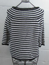NWT Lord & Taylor White & Black Striped Wool Cashmere Blend Knit Sweater XL $228