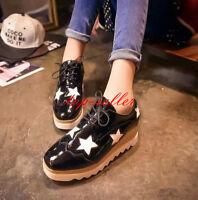 Punk Womens Lace Up Five-star Wedge Heel Platform Pumps Retro Shoes Oxfords Size