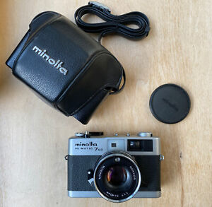 Minolta HI-MATIC 7SII camera ROKKOR 40MM 1.7 w Leather Case