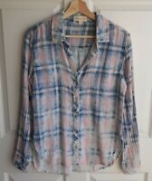 Cloth & Stone Womens Pink Plaid Double Faced Button Down Shirt Top Size Small