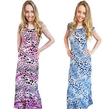 Para Mujer Maxi Pistacho señoras Integral Manga Corta Animal Leopard Print Dress