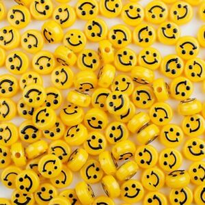 50Pcs Multicolor 6x10mm Smile Happy Face Acrylic Rondelle Beads Jewelry Making