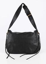 BALENCIAGA BLACK LEATHER ADJUSTABLE BUCKLE STRAP FLAP SHOULDER HAND BAG PURSE