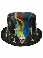 Voodoo Witch Doctor Top Hat Skull & Bones Feathers Witchcraft Costume Accessory