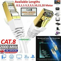 RJ45 CAT8 SSTP 40GBPS Ethernet Network Patch Lead Cord Cable LOT 0.5M TO 20M UK
