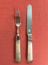 RARE ANTIQUE ANGLO INDIAN SILVER AGATE KNIFE & FORK. GEORGE GORDON.1830. MADRAS.