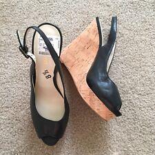 NEW NINE WEST Black LEGGYR Slingback Wedge PeepToe Platform Shoes SIze 8.5 NWT