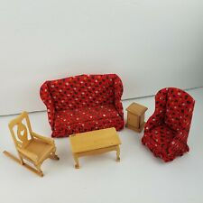 RED SOFA DOLLHOUSE WING BACK WITH RUFFLES + Ruffles Chair + Living Room LOT VTG