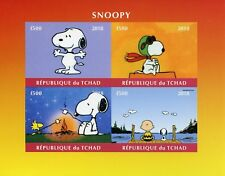 Chad 2018 MNH Snoopy Peanuts Charlie Brown 4v IMPF M/S Cartoons Comics Stamps
