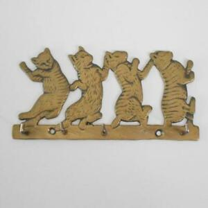 """Brass Dancing Cats Key Holder Wall Hanging 6"""" Long Vintage -Flaw-"""