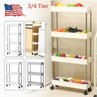 Storage Rack Shelf Organizer Slim Space Saving Wheels Movable Kitchen Bathroom