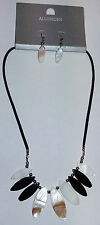 Allusions Two Tone Shell Necklace & Earrings Set