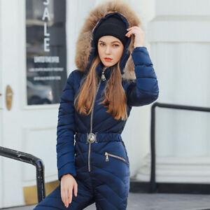 Women Ski Suit Hooded Real Fur Collar Cotton Jumpsuit Winter Warm Romper Thicken