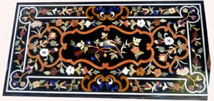 """48"""" x 24"""" Black Marble Dining Center Table Top Pietra dura Inlay Work"""