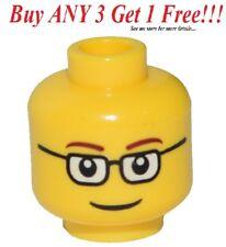 ☀️NEW Lego Male Boy MINIFIG HEAD w/Black Rim Glasses & Smile Police/City/Agents
