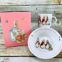 2014 Wedgwood Beatrix Potter PETER RABBIT Girl 2 Pieces Nursery Set Mug Bowl NEW