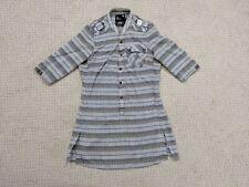 G Star Raw Half Snap Button Up Shirt Dress Women Small Brown Gray Black Pullover