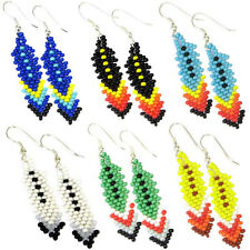 MIX COLOR BEADED EARRINGS NATIVE AMERICAN STYLE WHOLESALE  LOT 6 PAIR E38SB/WL2