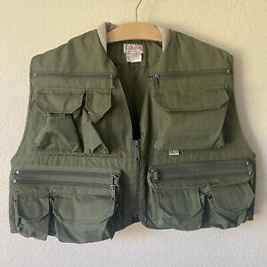 NWOT VINTAGE Orvis Green Fly Fishing Vest Size L Large Hunting POCKETS Men's