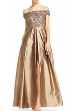 Adrianna Papell High Low  Beaded Off Shoulder Taffeta Gown-Size 8 (F#92)