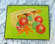 VINTAGE 1950'S WHITMAN CHILD INLAID TRAY PUZZLE OF VEGETABLES IN A BASKET