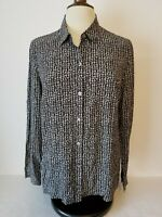 J Jill Womens Top Blouse Shirt Button Front Rayon Black White Sz M  Medium