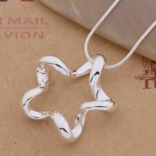 925  Sterling Silver Plated 3D Hollow Star Pendant Necklace 45cm