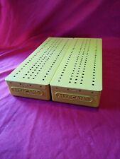 2X MECCANO PLASTIC STORAGE BOX & METAL FLANGED LIDS inc all 6 dividers