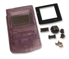 Game Boy Gameboy Color GBC Clear Purple  Shell Case Housing w Screen & Tools UK