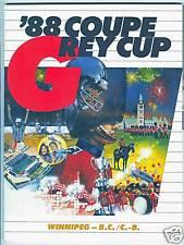 1988 CFL Grey Cup Program, Winnipeg vs B.C.Lions
