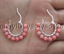 Pink Coral Earrings  Silver Lever Back