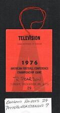 1976 AFC Championship Press pass Oakland Raiders v Pittsburgh Steelers football