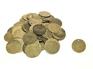 50 x Tarnished Mini 10mm Bronze Round Blank Stamping Tags Pendants Engrave Disc
