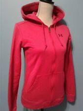 Under Armour Zip Up Hoodie Size S Pink Raspberry Fuschia Semi Fitted UA Women