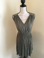 Kim Kardashian Dress Women's Extra Small Olive Jersey Fabric Sequin Shoulders
