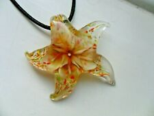Lovely Flower  Starfish  Lampwork Glass  Pendant  Necklace