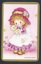 #915.230 Blank Back Swap Cards -MINT- Girl in pink with kitten, gold border