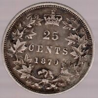 1870 - Canadian Queen Victoria Silver Quarter - Superfleas  - Hi Grade