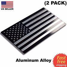 """(2 PACK) ALUMINUM US Flag Sticker 3D Emblem Decal Patriotic Car Bike 3.15""""x1.75"""""""
